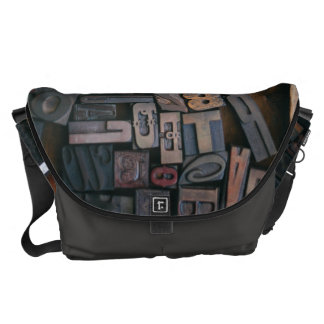 Wood Type - Large Messenger Bag Outside Print