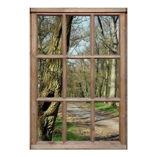 Wood View from a Window Poster