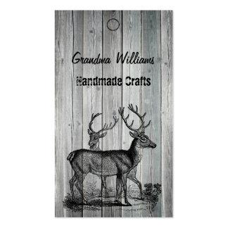 Wood Vintage Deer Handmade Tags Business Card Template