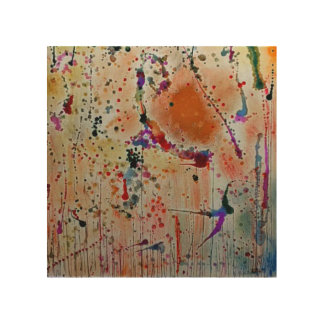 Wood Wall Art - Abstract Flowers and Birds