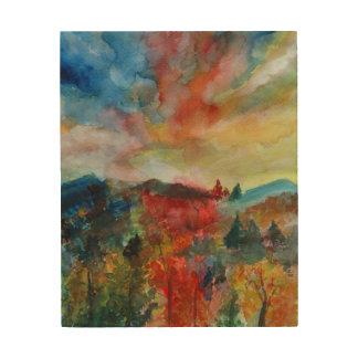 Wood Wall Art Autumn Landscape Watercolor Drawing