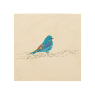 Wood Wall Art Blue Bird Music Notes Branch, Music