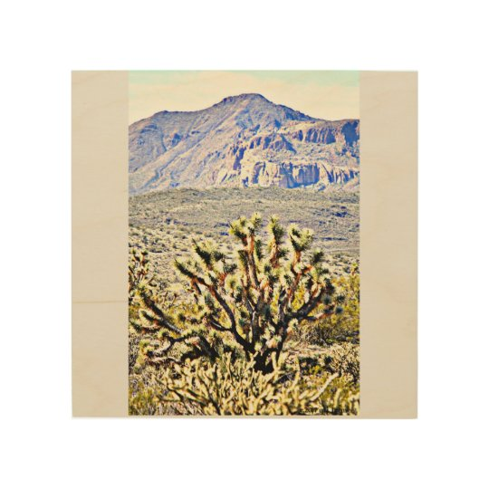 Wood Wall Art - Sonoran Mountain w/ Joshua Tree