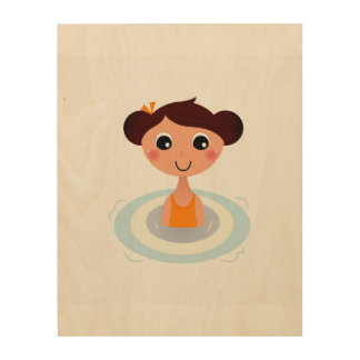 Wood wall art with swimming Girl