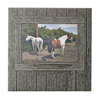 Wood wall horses 1 tile
