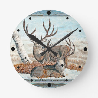 Wood wall painted bucks round clock