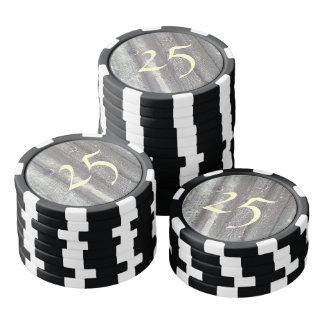 Wood wall poker chips