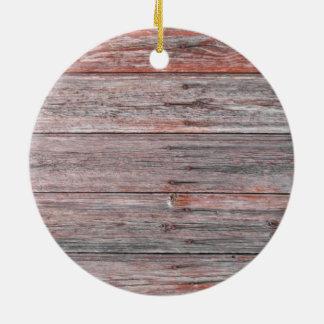 Wood Wall Texture Round Ceramic Ornament