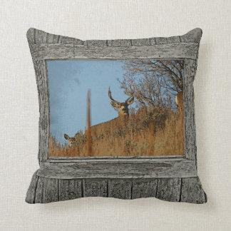 Wood wall window mule deer 3 throw pillow