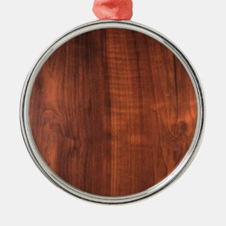 Wood WALNUT finish BUY BLANK Blanc Blanche + TEXT Silver-Colored Round Ornament
