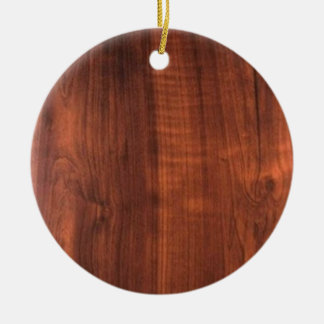 Wood WALNUT look BUY BLANK Blanc Blanche + TEXT Ceramic Ornament