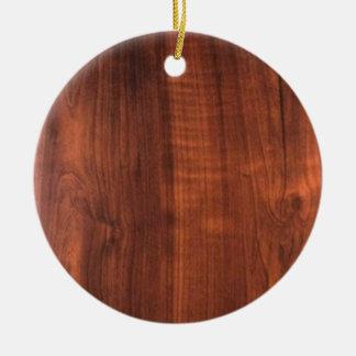 Wood WALNUT look BUY BLANK Blanc Blanche + TEXT Round Ceramic Ornament