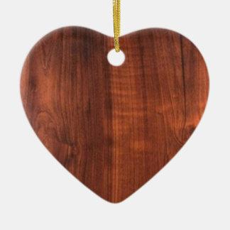Wood WALNUT look ceramic Blanc Blanche + TEXT Ceramic Heart Ornament