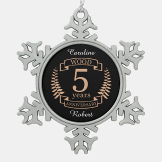 Wood wedding anniversary 5 years snowflake pewter christmas ornament