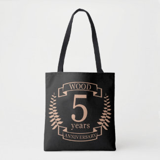 Wood wedding anniversary 5 years tote bag