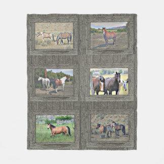 Wood window horses fleece blanket
