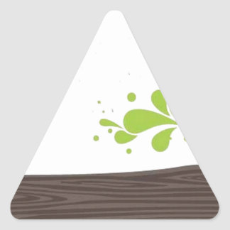 Wood with green leaf triangle sticker