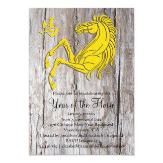 Wood Yellow 2014 Year of the Horse New Year Party Card