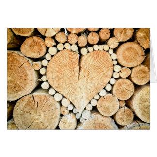 Wood You Be Mine? Rustic Wooden Heart Custom Card