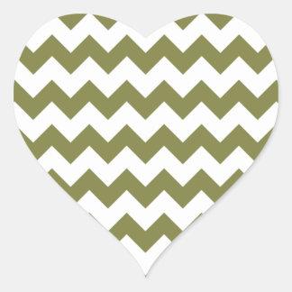 Woodbine White Chevron Pattern Heart Sticker