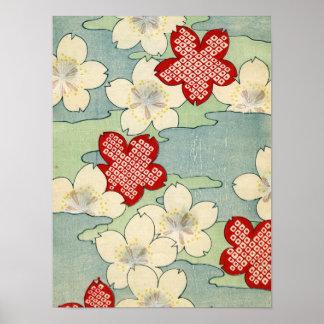Woodblock Print of Dogwood Blossoms