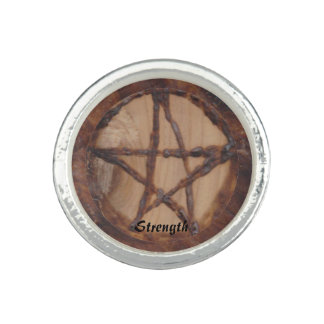 Woodburned Pentacle Primitive Witch Wiccan Pagan Ring