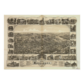 Woodbury New Jersey 1886 Antique Panoramic Map Poster
