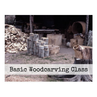Woodcarving, Retro Carving Workshop Lessons Class Postcard