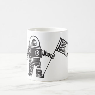 Woodcut Astronaut with Flag Mugs