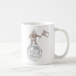 Woodcut Astronaut with Flag Mug