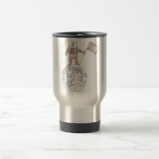 Woodcut Astronaut with Flag Stainless Steel Travel Mug