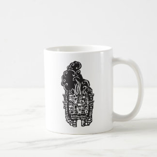 Woodcut Burning City Classic White Coffee Mug