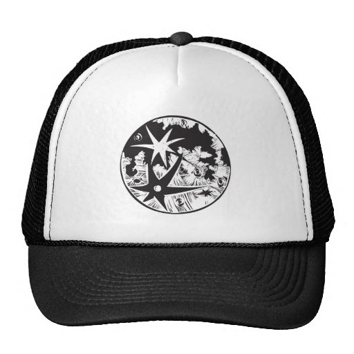 Woodcut Cratered Moon Hats