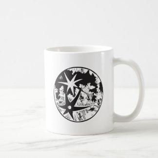 Woodcut Cratered Moon Coffee Mugs