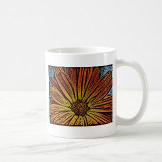 Woodcut Daisy Classic White Coffee Mug