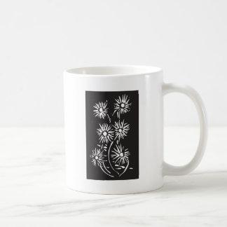 Woodcut Flowers Black Coffee Mugs