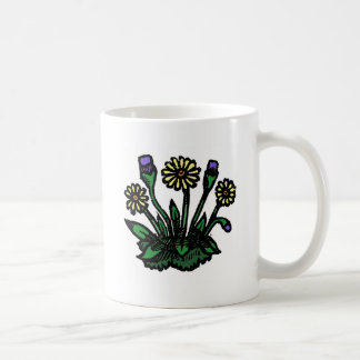 Woodcut Flowers Classic White Coffee Mug