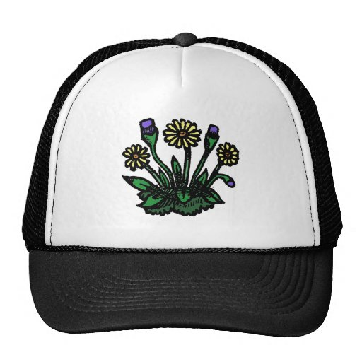 Woodcut Flowers Trucker Hat