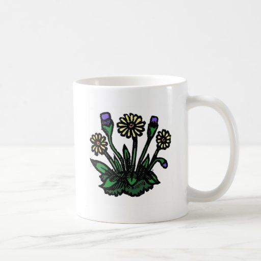 Woodcut Flowers Coffee Mugs