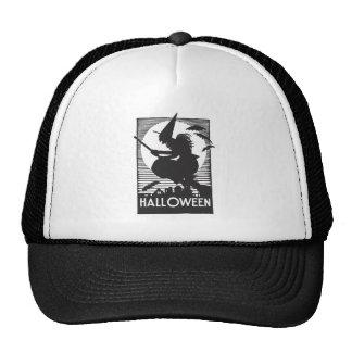 Woodcut Halloween Witch Trucker Hats