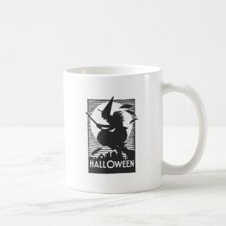 Woodcut Halloween Witch Mug