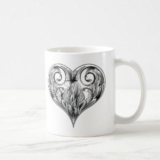 woodcut heart classic white coffee mug