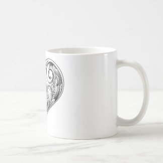 woodcut heart classic white coffee mug