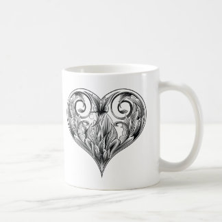 woodcut heart coffee mug