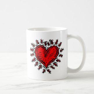 Woodcut Heart Basic White Mug