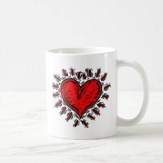 Woodcut Heart Coffee Mugs