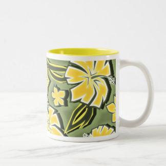 Woodcut Hibiscus Hawaiian Tropical Print Coffee Mug