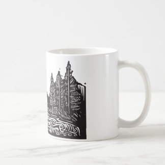 Woodcut Landscape Classic White Coffee Mug
