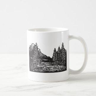 Woodcut Landscape Coffee Mugs