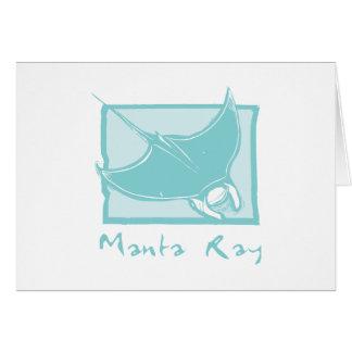 Woodcut Manta Ray Card